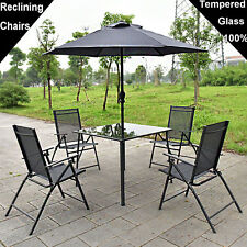 6PC GARDEN FURNITURE PATIO SET CONSERVATORY 4 SEATER PARASOL CHAIRS AND TABLE