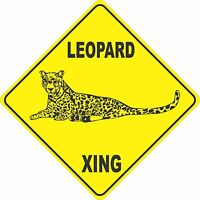 "13"" x 13"" plastic funny Leopard sign xing Crossings animal wild"