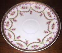 Vintage Austria China Saucer - Pink Roses And Gold Trim