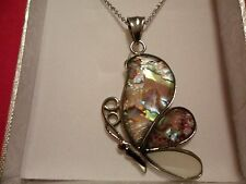 """Abalone, White Shell Butterfly Pendant w/20"""" Chain in Stainless Steel-15.40 CTW"""