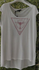 GUESS TIESTO  Damen Blusen Shirt Longshirt L 44 46 Baumwolle Modal Weiss