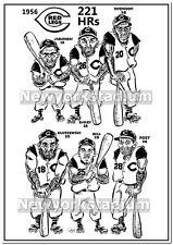 "Cincinnati Redlegs- 1956 Sluggers ""221 HRs"" Caricature_Wally Post, Gus Bell, Klu"