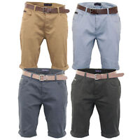 Mens Chino Shorts Smith & Jones Belted Knee Length Roll Up Pants Casual Summer
