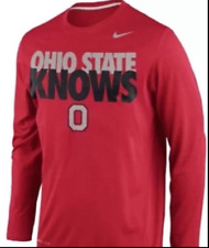 """NWT Nike """"Ohio State Knows"""" Red Dri Fit Shirt Men's Small Buckeyes"""