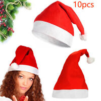 10Pcs Soft Plush Ultra Thick Santa Claus Patry Christmas Cap Hat For Adult Kids