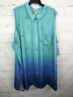 Catherines Top Womens 5X Sailboats Green ombre blue button down blouse summer