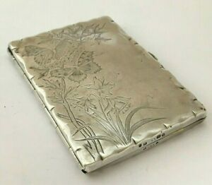 Antique Victorian Sterling Silver Butterfly Bird Daffodil Card Case 1884