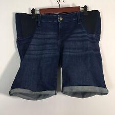 Isabel Maternity Jean Shorts Women Size 14 Dark Wash Blue Denim Bermuda