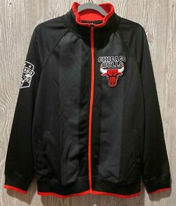 UNK NBA Chicago Bulls Black Grey White Red Basketball Warm Up Jacket NEW Mens M