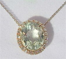 7 Carat Green Amethyst Diamonds 18K White Gold Pendant Chain Necklace Gift