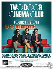 """TWO DOOR CINEMA CLUB 2010 """"TOURIST HISTORY TOUR""""CONCERT POSTER-Group On Red Sofa"""