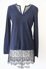 Sandro Shirt Womens Tunic Top sz 1 Lace Black Linen Blue $250 Tyra NEW