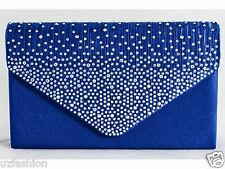 Bnwt Royal Blue Diamante Satin Bridal Evening Clutch Hand Bag Purse Handbag