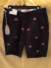 Men's Cisco Short from Castaway Clothing Embroidered Pirate MSRP $88 NWT Size 30
