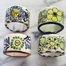 Set of 4 White Terracotta Napkin Rings BOHO CHIC Hand Painted Made in Mexico