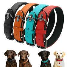 Soft Leather Dog Collar Padded Adjustable Small Medium for French Bulldog Yorkie