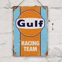 Gulf Racing Oil Gasoline Mechanic Service Station Auto Shop Garage Metal Sign