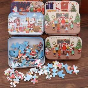 60pcs DIY Wooden Puzzle Christmas Santa Claus Toys Kids Gift Iron Box Puzzles LG