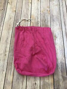 Small Pink Jersey Cotton Drawstring Bag Storage