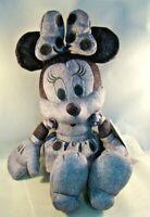 "Disney Parks Exclusive Minnie Mouse Gray Denim Plush Stuffed Animal 13"""
