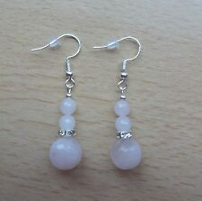 Lovely faceted ROSE QUARTZ 'AA' gemstone drop  EAR RINGS St Silver Gift wrapped