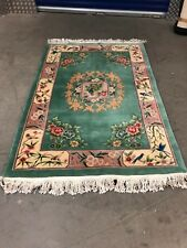 Fabulous Floral Green Wool Carpet with Coloured Border 206 cms x 123 cms