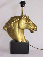 04D63 ANCIENNE LAMPE DE TABLE VINTAGE 1970 CHEVAL EN LAITON STYLE JANSEN REGENCY