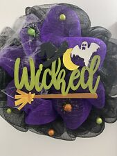 Halloween Deco Mesh Wreath With A Sign Spiders And Ghost New Handmade