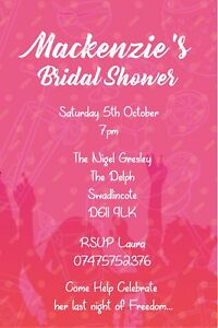 Personalised Pink Bridal Shower / Hen Do Party Invites inc envelopes B12
