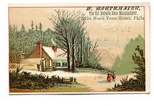 Victorian Trade Card H BARTHMAIER Old Reliable Shoe Manufacturer winter Phila