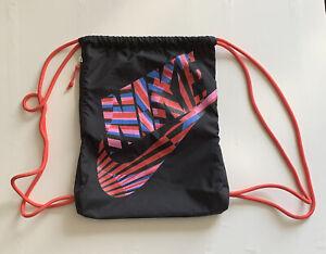 Nike Drawstring Bag Rucksack With Zipped Pocket In Black/pink