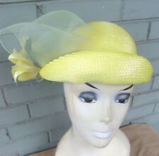 VTG Straw Ann's Hats Women's Church Derby Yellow Lace Floral Hat