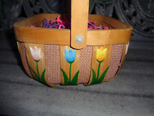 Wood Summer Basket Floral Tulip Flowers Wicker Farmhouse Country Plant Storage
