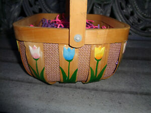 Wood Wooden Basket Floral Tulip Flowers Wicker Farmhouse Country Plant Storage