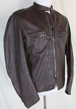 Vintage Brooks Men's Large 44 Brown Leather Motorcycle Jacket Cafe Racer USA