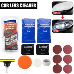 15Pcs Car Headlight Headlamp Cleaning Restoration Polish Light Lens Restorer Kit