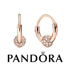 Genuine Authentic Pandora Rose Pave Bead Hoops Earrings With Pop-Up Box