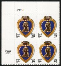 USA Sc. 4032 39c Purple Heart 2006 MNH plate block