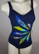 Sunflair Swimming Costume V Neck Sporty Navy And Multi ,Size 10E REDUCED !! (12)