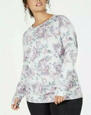 Ideology NWT $55 Plus Size Gray Floral-Print Lace-Up Top Multicolor 2X   LL19