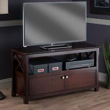 Rustic Farmhouse TV Stand Entertainment Center Brown Wooden Cabinet Open Shelf