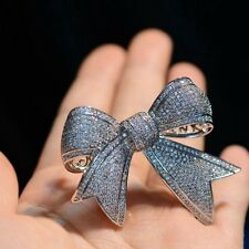Victorian Jewelry Vintage Full Micro Pave CZ Ribbon Bow Tie Brooches Pins Silver