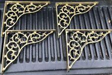 """Vtg Set 4 Victorian Cast Iron Wall Shelf Brackets 10.5"""" X 8.5"""" Painted Gold Mint"""