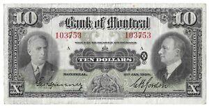 1938 Bank of Montreal 10 Dollar Bill