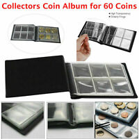 60 Coin Album Coins 50p Penny Money Storage Case Holder Collector Folder Book UK
