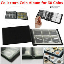 60 Coin Album Coins 50p Penny Money Storage Case Holder Collector Folder Book UK