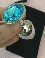Butt Toy Plug Anal Jeweled Gem Teal Blue Brand New In Bag Metal