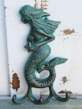Green Iron Mermaid with Starfish Triple Hook. Beach and Nautical Home Decor. NEW