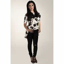 Women's Crew Neck Floral Hip Length Tops & Shirts