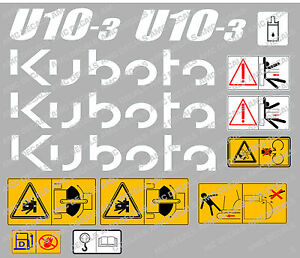 KUBOTA U10-3 MINI DIGGER COMPLETE DECAL SET WITH SAFETY WARNING SIGNS